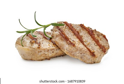Roast pork chop slices with rosemary isolated on white background. Two pork medallions.