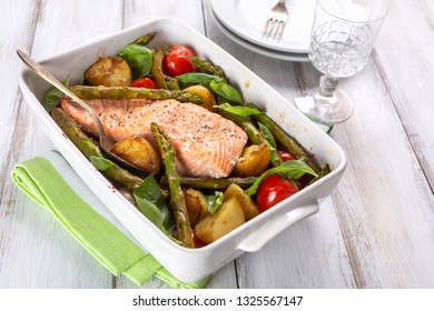 Roast Salmon with  Asparagus, New Potatoes and Cherry Tomatoes