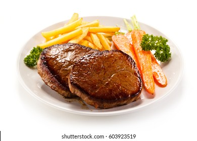 Roast steaks with french fries