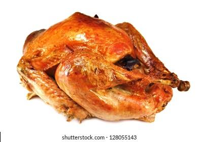roast turkey on white background