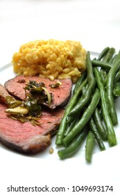 Roastbeef with risotto and beans