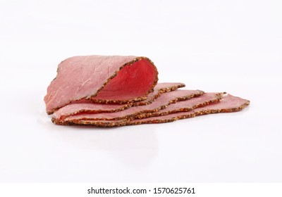 roastbeef slices perfectly arranged of roast beef  isolated on white background
