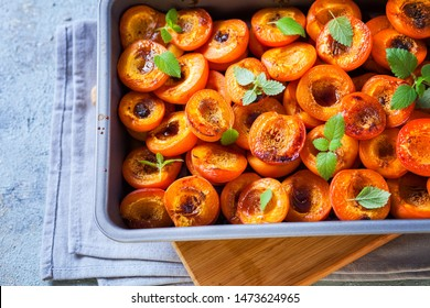 roasted apricots with brown sugar and honey - fruis and vegetables