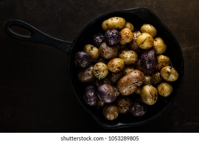 Roasted baby potatoes in a cast iron skillet