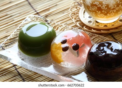 Roasted barley tea and Japanese confectionery,Japanese soft sweet bean jelly