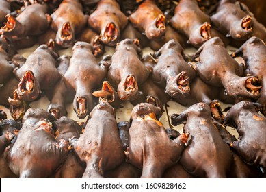 Roasted bats at Tomohon market, Sulawesi, Indonesia (selective focus).