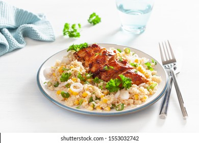 roasted bbq chicken with couscous sweetcorn onion, healthy lunch