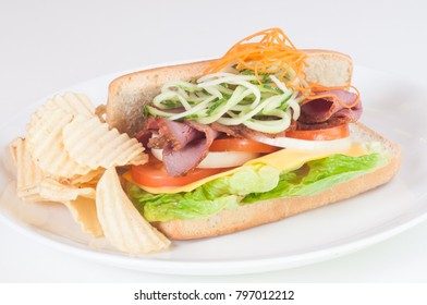 Roasted beef cheese sandwich with chips