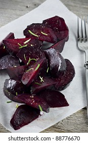 Roasted Beets with Salt and Fresh Rosemary.