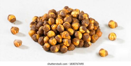 Roasted black chana, Masala Chickpea / chana known as chatpata futana or Phutana, Traditional Crunchy (annagiri, Folva) Gram - Bengal Grams / daliya, chatpata flavored with spicy Indian Masala, masala