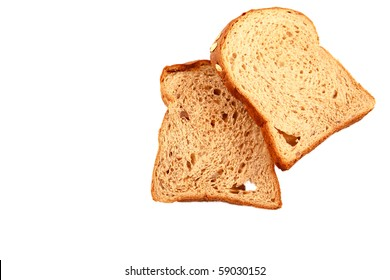 Roasted bread on pure white background.