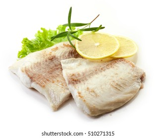 roasted bream fish fillets isolated on white background
