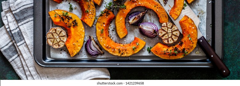 Roasted Butternut Squash Slices with Red Onions and Thyme, banner
