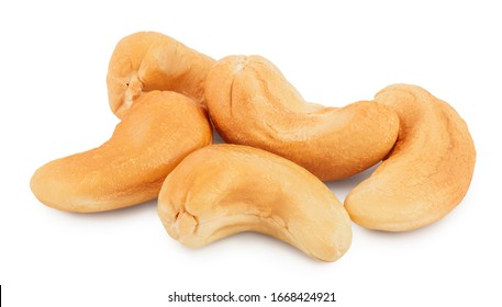 Roasted Cashew nuts isolated on white background with clipping path and full depth of field.