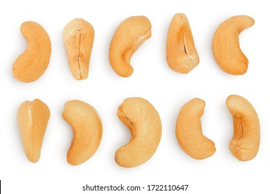 Roasted Cashew nuts isolated on white background with clipping path and full depth of field. Set or collection.
