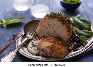 Roasted cauliflower with fresh spinach