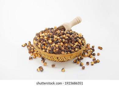 roasted chana or chikpeas Bengal Grams also known as chatpata futana or Phutana flavored with spicy Indian Masala.