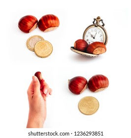 Roasted chestnuts, hold in hand with euro and forint coins, isolated on white background. Vintage pocket watch, time is money concept. Autumn season, street food business.
