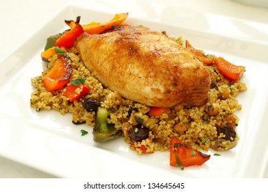 roasted chicken breast with couscous