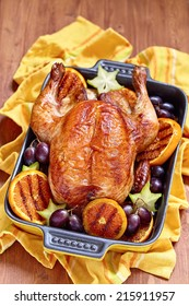 Roasted chicken with fruits for a holidays
