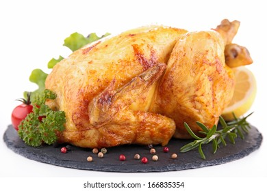 roasted chicken isolated