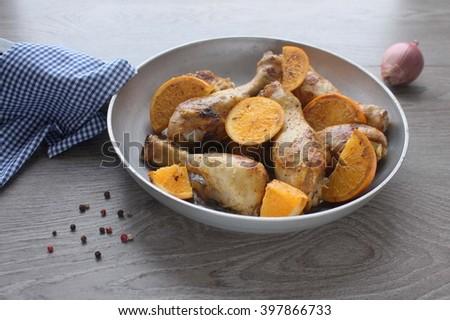 Roasted Chicken Legs Cast Iron Skillet Stock Photo (Edit Now