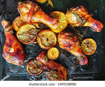 roasted chicken with lemon and herbs  top view