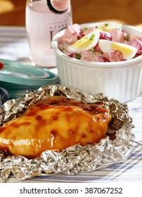 Roasted chicken on aluminum foil