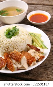 Roasted chicken rice set, a popular meal in Malaysia.