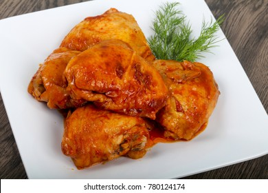 Roasted chicken thigh with tomato sauce