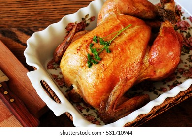 Roasted chicken in tray