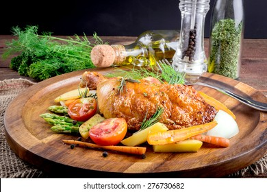 roasted chicken with vegetable and herbs