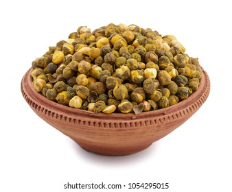 Roasted Chickpea or Gram Also Know as Channa or Chana Isolated on White Background