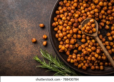 roasted chickpeas with smoked paprika. Top view.