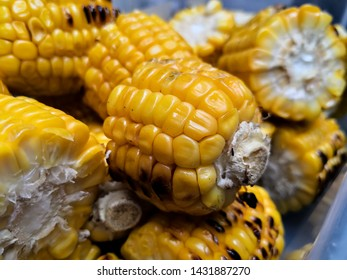 Roasted cob pieces with maize kernels detail