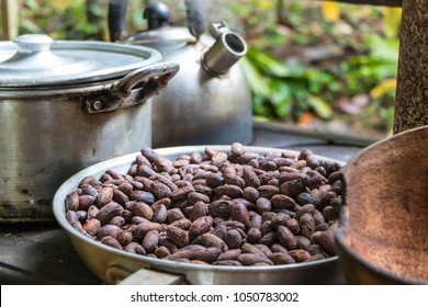 Roasted cocoa beans in skillet. Chocolate production