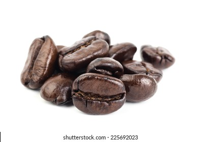 Roasted coffee bean on white background
