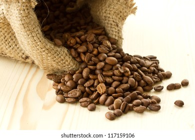 roasted coffee beans in a bag close up