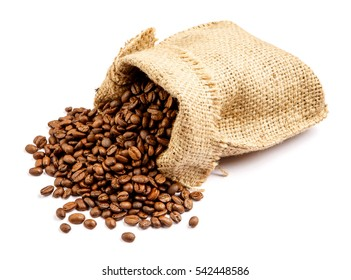 roasted coffee beans in bag isolated on white background
