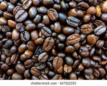 Roasted coffee beans ,Black and brown coffee beans.