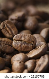 Roasted coffee beans in closeup