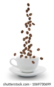 Roasted coffee beans falling into coffee cup on saucer with white background,fresh and bright wallpaper concept.