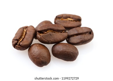 Roasted coffee beans isolated on white background. Close-up