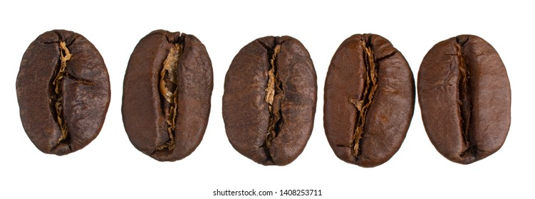 Roasted Coffee Beans Isolated on White Background. Large Depth of Field (DOF). Macro. Close-up.