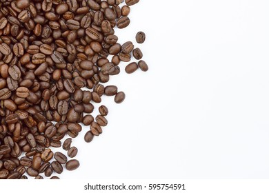 roasted coffee beans and coffee beans isolated on white background