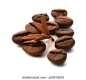 roasted coffee beans isolated on white background with shadows