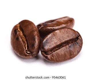 roasted coffee beans isolated on white background. with shadow