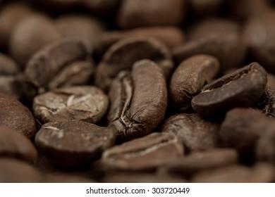 Roasted coffee beans, macro