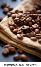 Roasted coffee beans on canvas,shallow focus