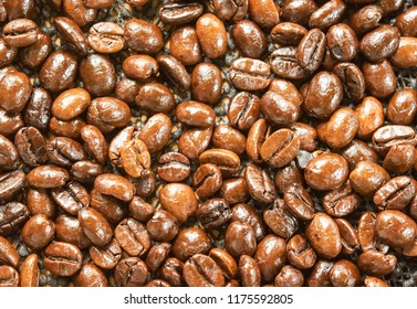 Roasted coffee beans on white plate on the table,wake up drinks in the morning